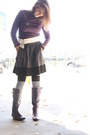 Deep-purple-knee-high-boots-thrifted-boots-white-halloween-outfitters-socks