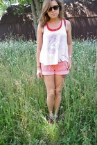 red vintage shorts - off white Disney top - ruby red awesome shoes sandals