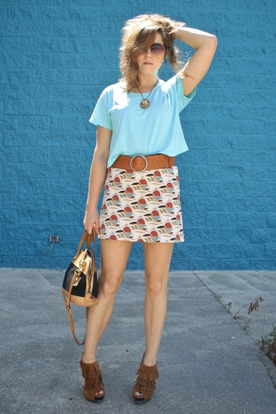 tawny with birdies thrifted skirt - aquamarine thrifted shirt