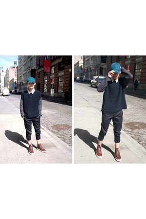 cap H&M hat - crewneck Zara sweater - cropped Uniqlo pants