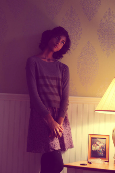 dark brown DSW boots - amethyst delias dress - heather gray ann taylor sweater