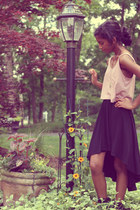 black gifted boots - black American Eagle skirt - light pink American Eagle top