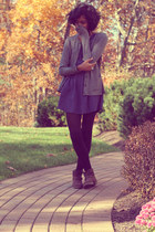 black H&M tights - brown DSW boots - navy gift dress - black Forever 21 socks