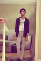 white hollister shirt - beige Uniqlo pants - navy moms cardigan