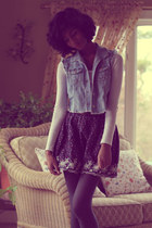 light blue Pac Sun vest - white Aeropostale shirt - charcoal gray delias tights