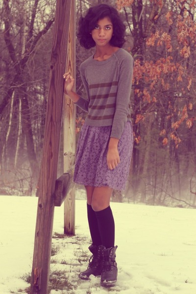 black gifted boots - amethyst delias dress - heather gray Loft sweater