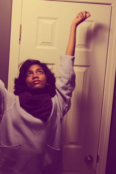 light blue moms sweater - black Target leggings - purple gift scarf