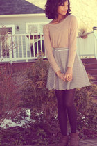 brown DSW boots - nude American Eagle sweater - black H&M tights