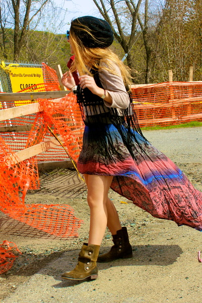 Ebay dress - Steve Madden boots - Brandy LA sweater - fringe Forever 21 vest