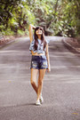 Blue-high-waisted-pacsun-shorts-blue-ruffled-zara-top
