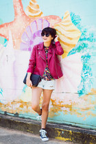 black Converse sneakers - ruby red Forever 21 jacket
