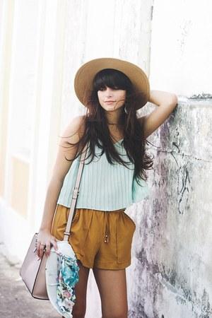 nude boater Forever 21 hat - camel suede Zara shorts