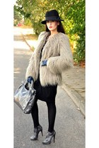 faux fur Zara jacket - snakeskin Aldi boots - wooly H&M dress