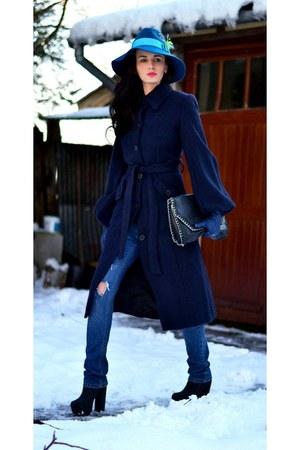 asos hat - asos boots - Byoung coat - Stradivarius bag - Boyfriend jeans pants