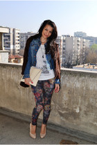 H&M jacket - Miss Selfridge leggings - marx t-shirt - Aldo pumps