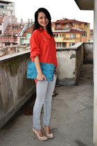 trifted top - Mango jeans - Zara purse - Aldo pumps