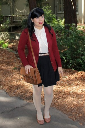 belt - Oxblood cardigan - thrifted top