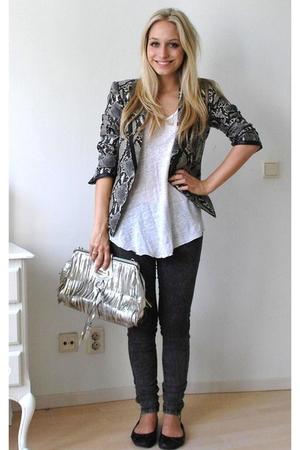 gray jeans leggings pieces jeans - black ballet flats H&M shoes