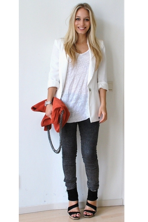 white boyfriend Zara blazer - gray leggings pieces jeans