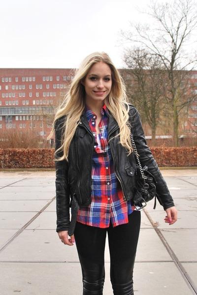black Zara leather jacket - red checkered shirt