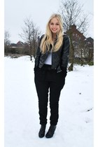 black Harem pants - white H&M t-shirt - black H&M boots - Mango jacket