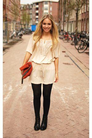 orange clutch Zara accessories - black minimarket boots - pink H&M dress