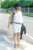 white mphosis dress - brown Mango belt - coach bag - brown shoes - Forever 21 ac