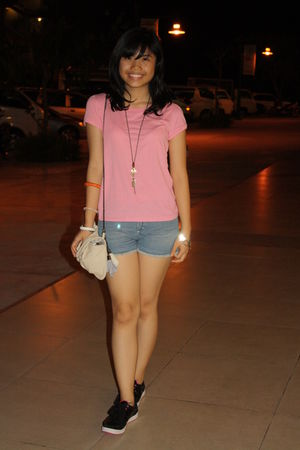 pink Old Navy top - blue Folded and Hung shorts - black Gola shoes - accessories
