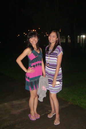 from a friend dress - purple Havaianas shoes - white headband accessories - gray