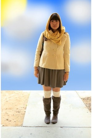 American Apparel scarf - Nine West jacket - ny & co dress - Target socks - Chine