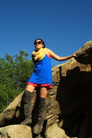 forever 21 dress - H&M dress - American Apparel scarf - Chinese Laundry boots -