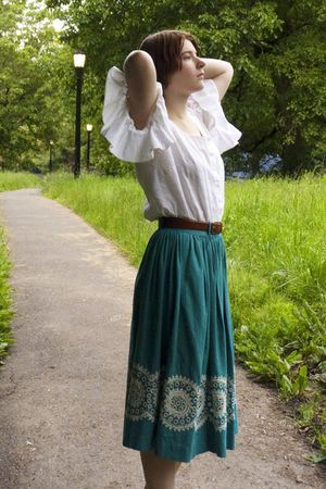 white vintage blouse - brown thrifted belt - green vintage skirt