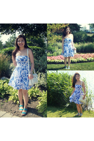 floral print hm dress - vintage bag - Gap sandals