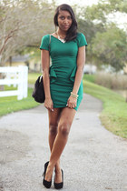 black faux fur Aldo bag - green peplum Zara dress - black Steve Madden pumps