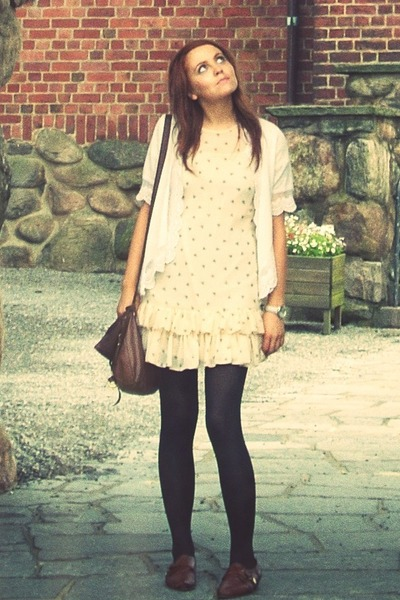 beige Primark dress - white Darling cardigan - brown Topshop shoes - brown Topsh