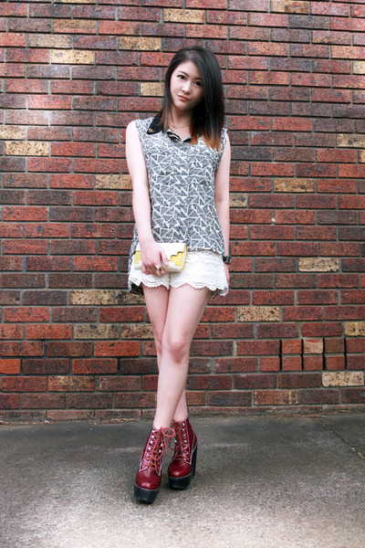 patterned blouse - platform Jeffrey Campbell shoes - crochet shorts