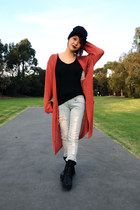tawny cardigan - black leather trippen boots - light blue distressed jeans