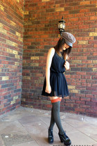 army green hat - forest green Jeffrey Campbell shoes - black dress