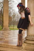 leather John Fluevog boots - black fit and flare free people dress