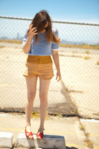 leather-linen Shakuhachi shorts - sandals Worishofer shoes