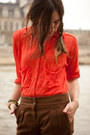 Red-sheer-free-people-blouse-brown-trousers-stella-pardo-pants