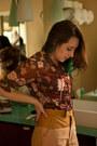 Magenta-vintage-blouse-mustard-leather-linen-shakuhachi-shorts
