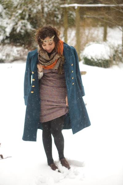 vintage coat - doc martens shoes - free people dress