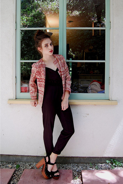 red vintage blazer - black Silence  Noise jumper - black Jeffrey Campbell clogs
