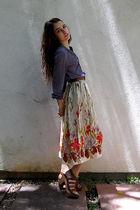 blue H&M circa 2005 blouse - brown thrifted belt - vintage skirt - brown madewel