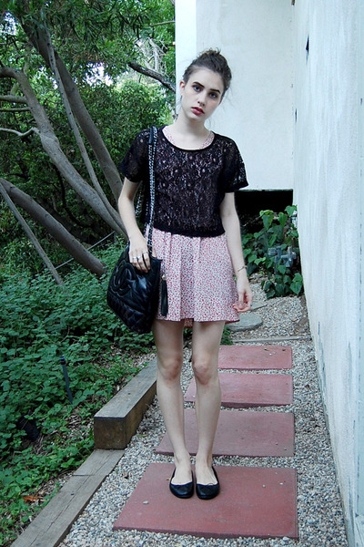 black H&M top - vintage dress - black Chanel purse - black H&M shoes