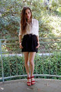 White-blouse-black-shorts-scarf-red-shoes