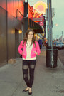 Hot-pink-charlotte-russe-jacket-cutouts-diy-leggings-black-tights-tights
