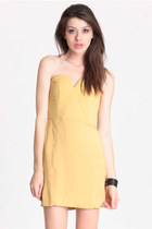 light yellow strapless dress