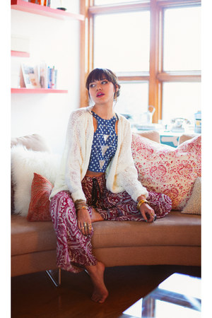 crimson threadsence pants - blue Fairground top - ivory threadsence cardigan